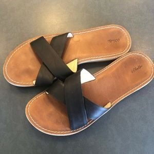 OluKai Ke'a Black Leather Slide Sandals W 8